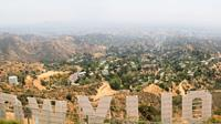 Shot of Hollywood Hills from behind the Hollywood Sign